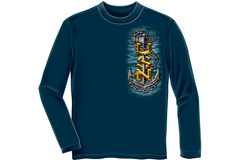 Navy Full Print Eagle Long Sleeve T-Shirt