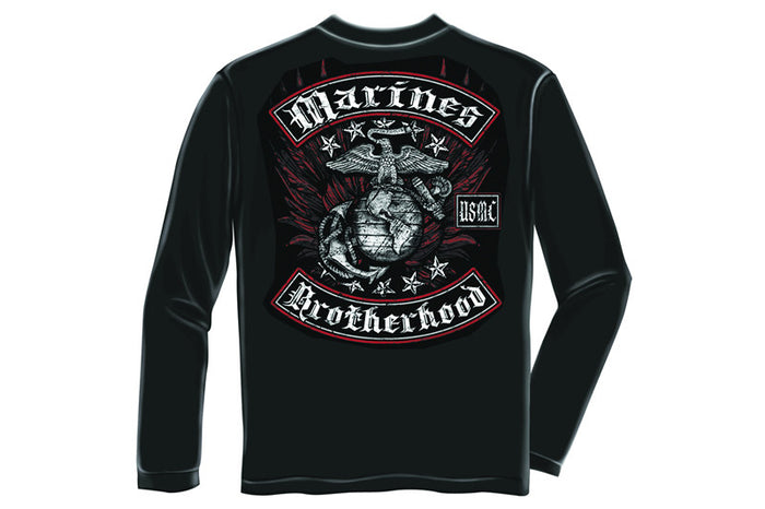 MARINE BIKER WITH ROCKERS FOIL STAMP Long Sleeve T-Shirt