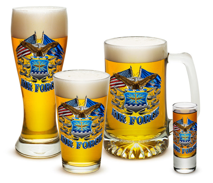 U.S. Air Force Double Flag Eagle Glassware Set