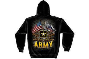 ARMY DOUBLE FLAG US ARMY BLACK Hooded Sweatshirt