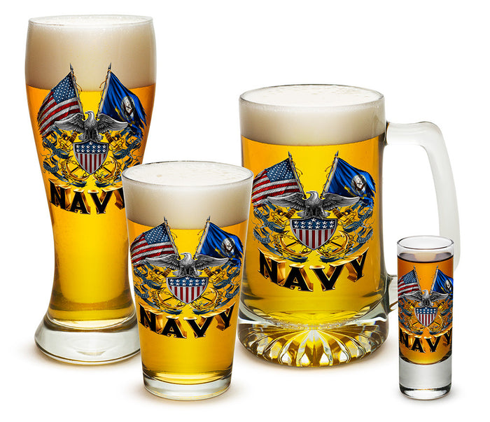 U.S. Navy Double Flag Eagle Glassware Set