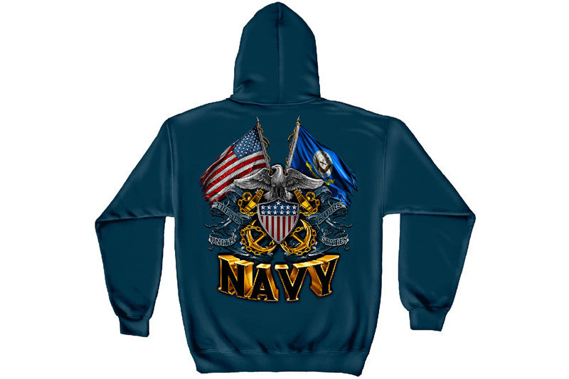 DOUBLE FLAG EAGLE NAVY SHIELD Hooded Sweatshirt