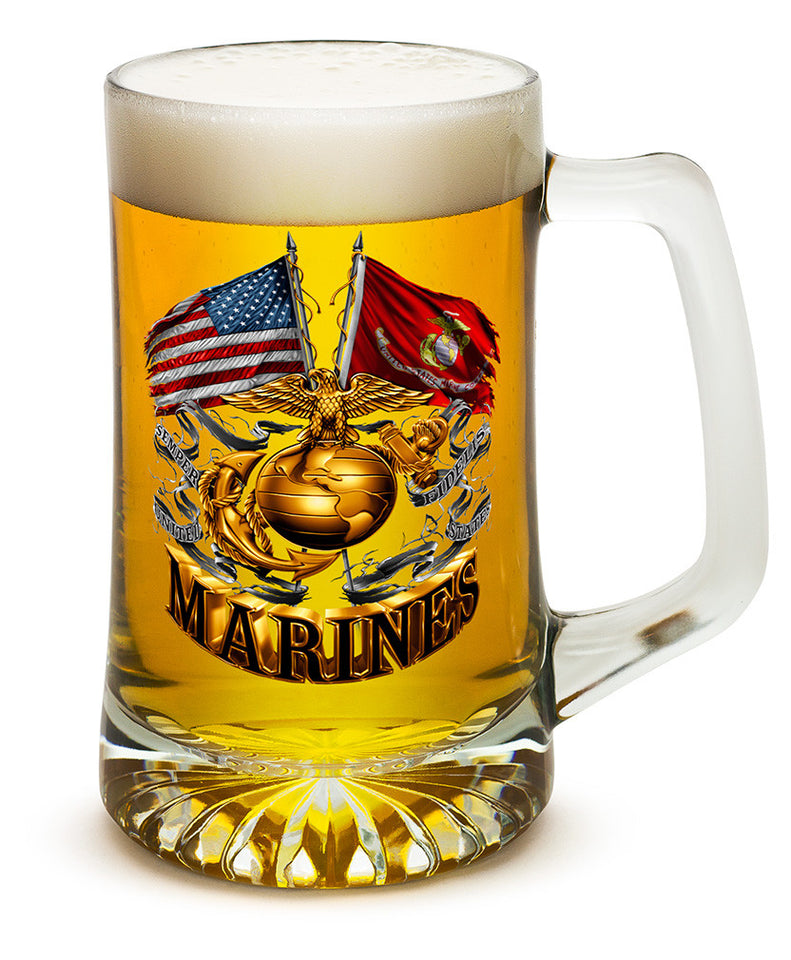 Set of Two US Marine Corps 25oz Tankard Beer Mug Double Flag Gold Globe Marine