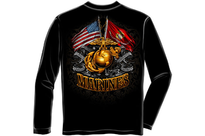 DOUBLE FLAG GOLD GLOBE MARINE CORPS Long Sleeve T-Shirt