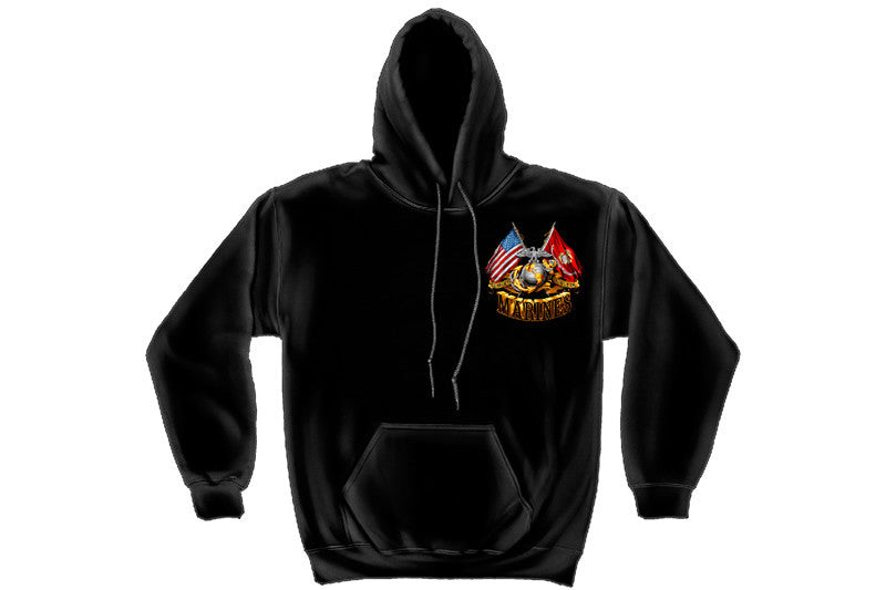 DOUBLE FLAG GOLD GLOBE MARINE CORPS Hooded Sweatshirt