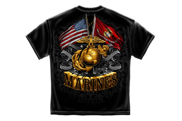 US Marine Corps Double Flag Globe Short Sleeve T-Shirt