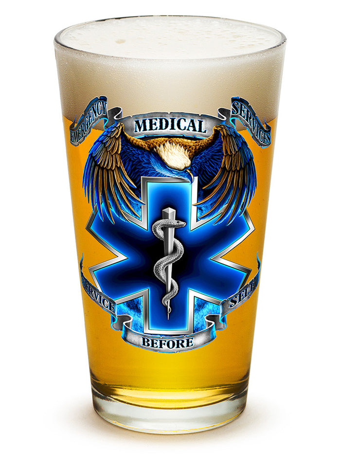 True Heros EMS 16oz large pint glass - Set of 2