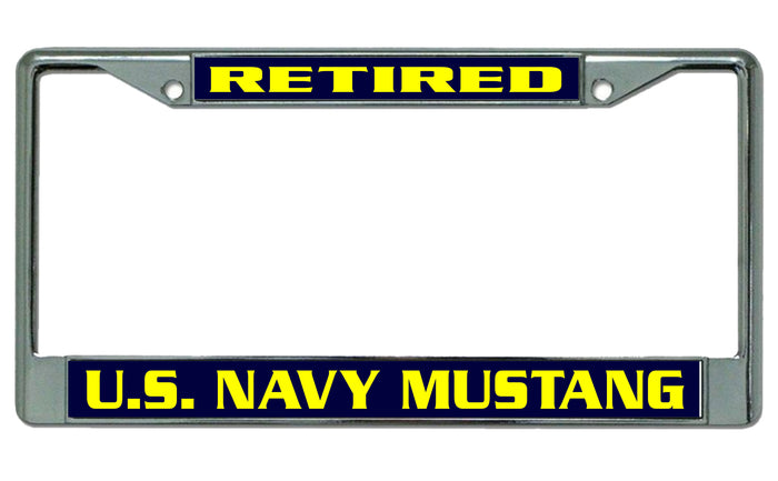 Chrome US NAVY MUSTANG *RETIRED* License Plate Frame