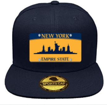 Custom New York License Plate Adjustable Snapback Hat - Navy Blue