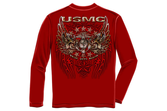 USMC PRID DUTY HONOR STARS FOIL STAMP Long Sleeve T-Shirt