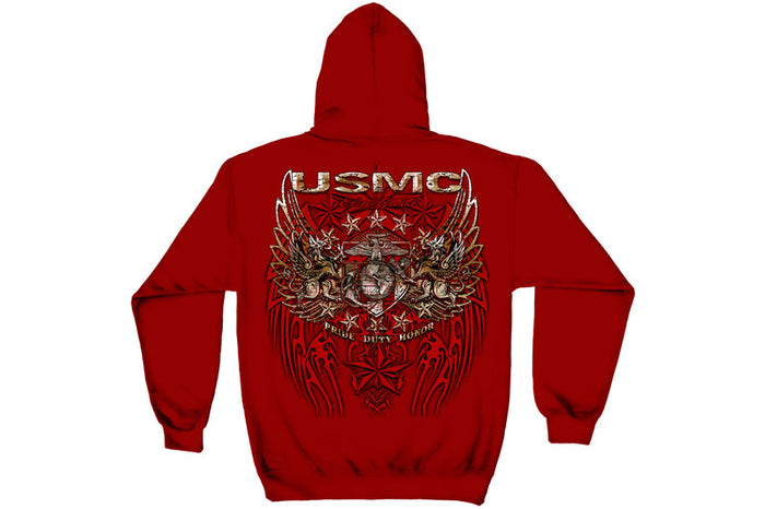 USMC PRID DUTY HONOR STARS FOIL STAMP Hooded Sweatshirt