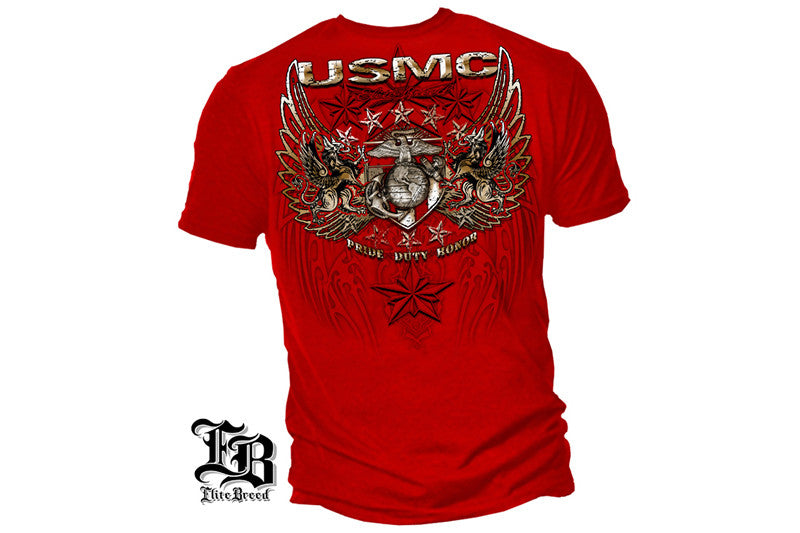 USMC PRID DUTY HONOR STARS FOIL STAMP Short Sleeve T Shirt