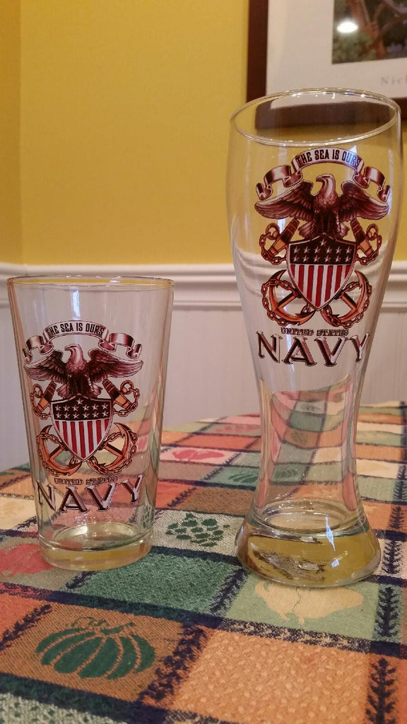 U.S. Navy The Sea Is Ours - Set of 2 - Large Pint Glasses 16oz Drinkware