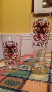 US Navy The Sea is Ours Full Print Eagle - Set of 2 - Large Pilsner Glasses 23oz Drinkware