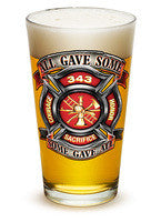 "Fire Honor Courage Sacrifice ""All Gave Some"" ""Some Gave All"" 343 badge 16oz - Set of 2"
