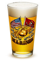 Double Flag Gold Marine Corps 16oz large pint glass - Set of 2