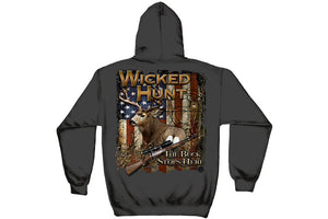 WICKED HUNT DEER BUCK STOP HERE Hooded Sweatshirt
