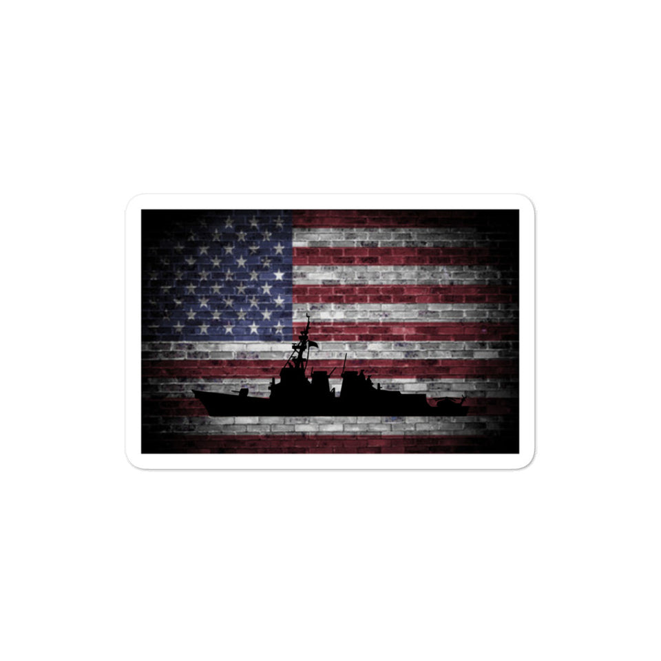 American Flag (Brick) with DDG Silhouette Bubble-free stickers