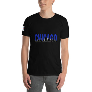 3D Chicago Skyline with Chicago Flag on the sleeve - Short-Sleeve Unisex T-Shirt
