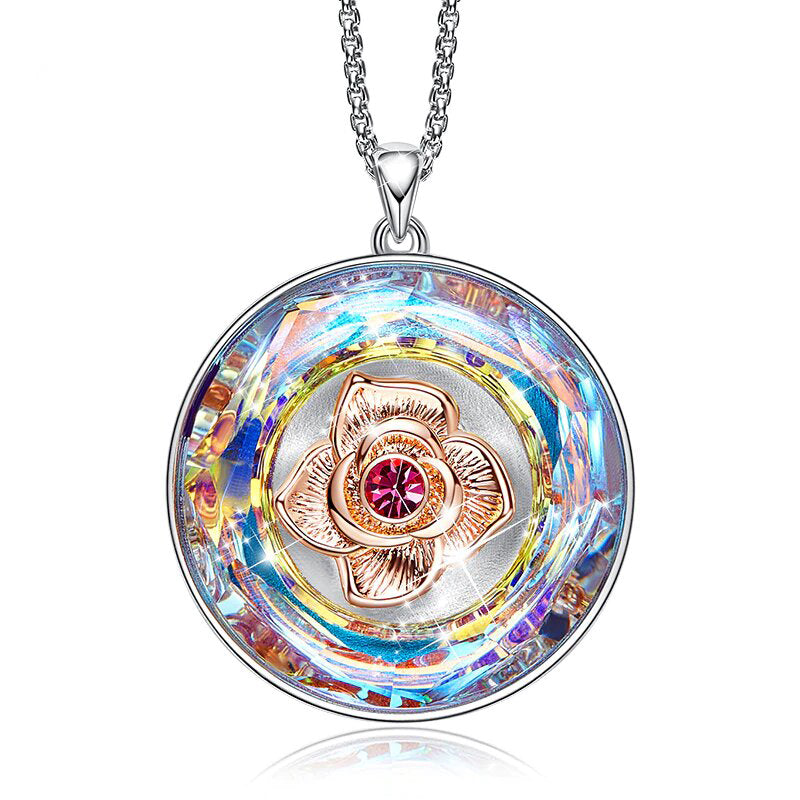 Swarovski Crystals Rainbow of the World Disc with Rose Necklace - Classy Swan