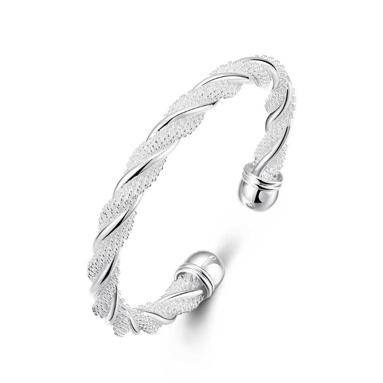 Twisted Mesh Silver Cuff Adjustable Bracelet - Classy Swan