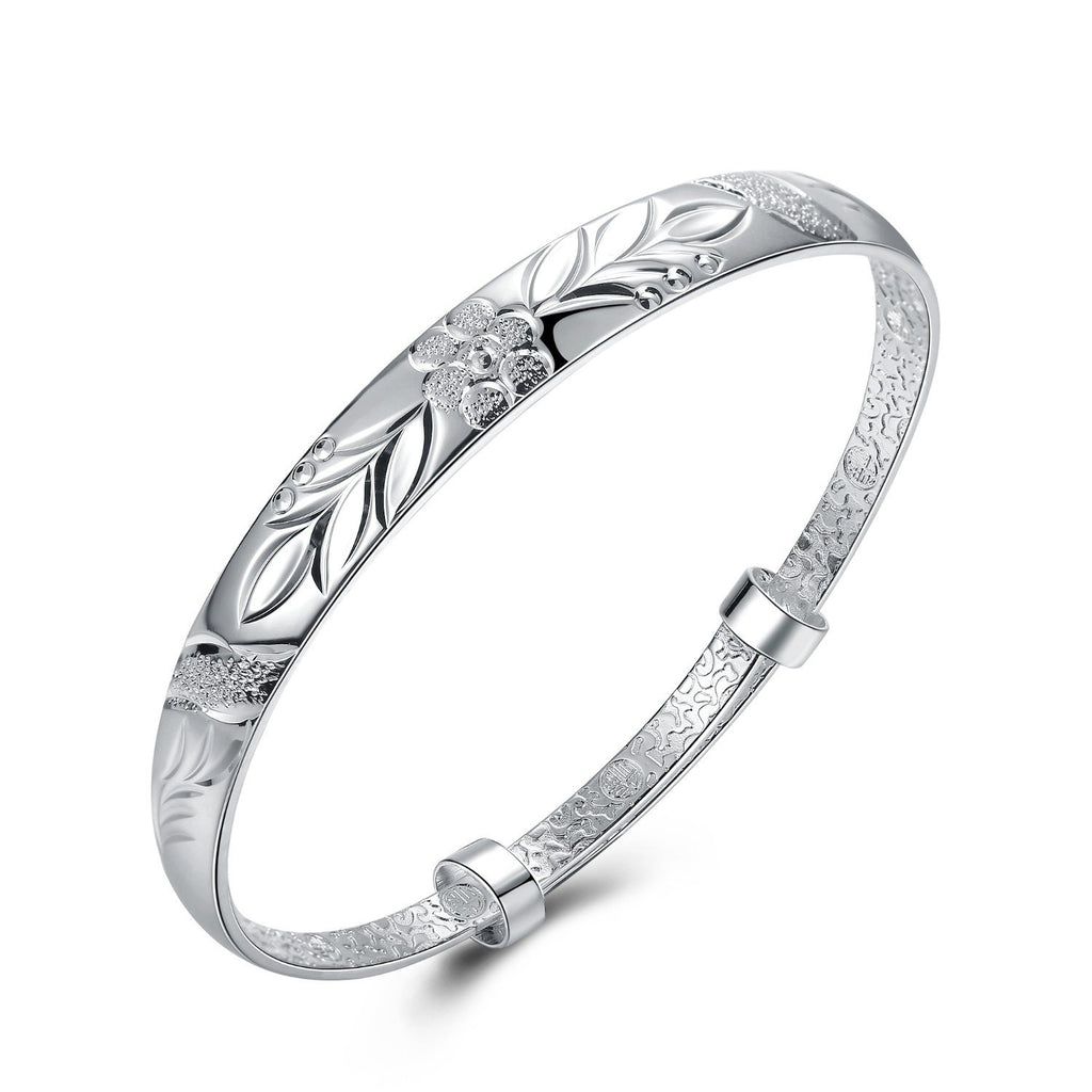 Women's Silver Plated Floral Ingrain Design Bangle - Classy Swan