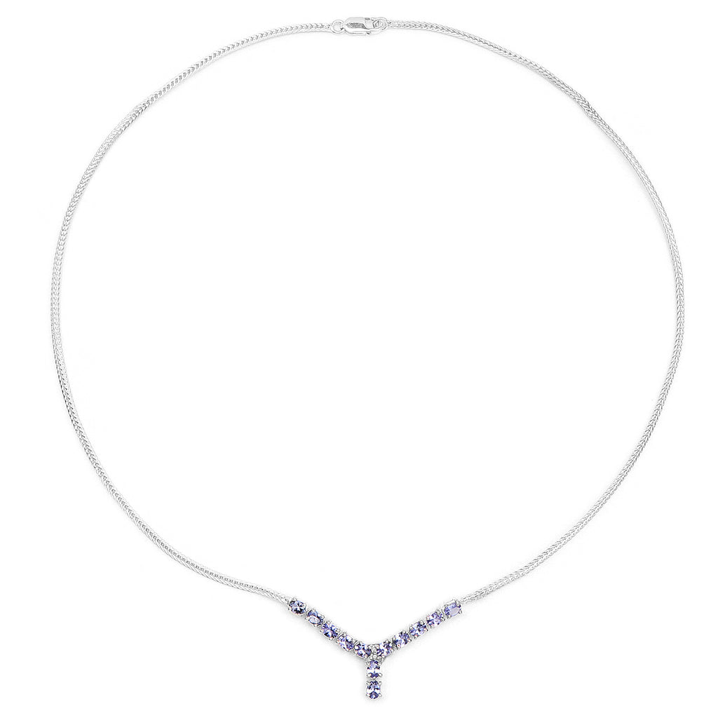 Genuine Tanzanite and White Diamond .925 Sterling Silver Necklace - Classy Swan
