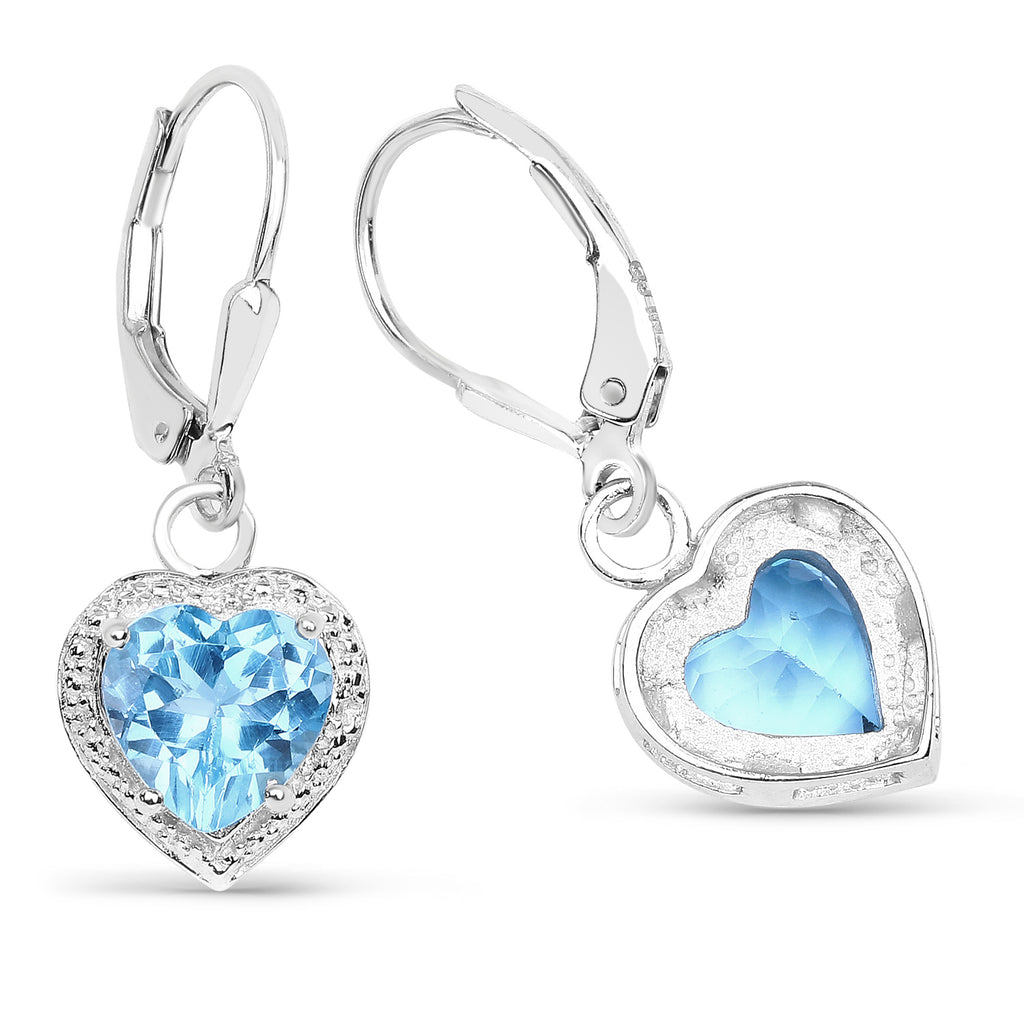 Genuine Swiss Blue Topaz Sterling Silver Earrings - Classy Swan