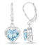 Heart Shaped Blue Topaz Sterling Silver Earrings - Classy Swan