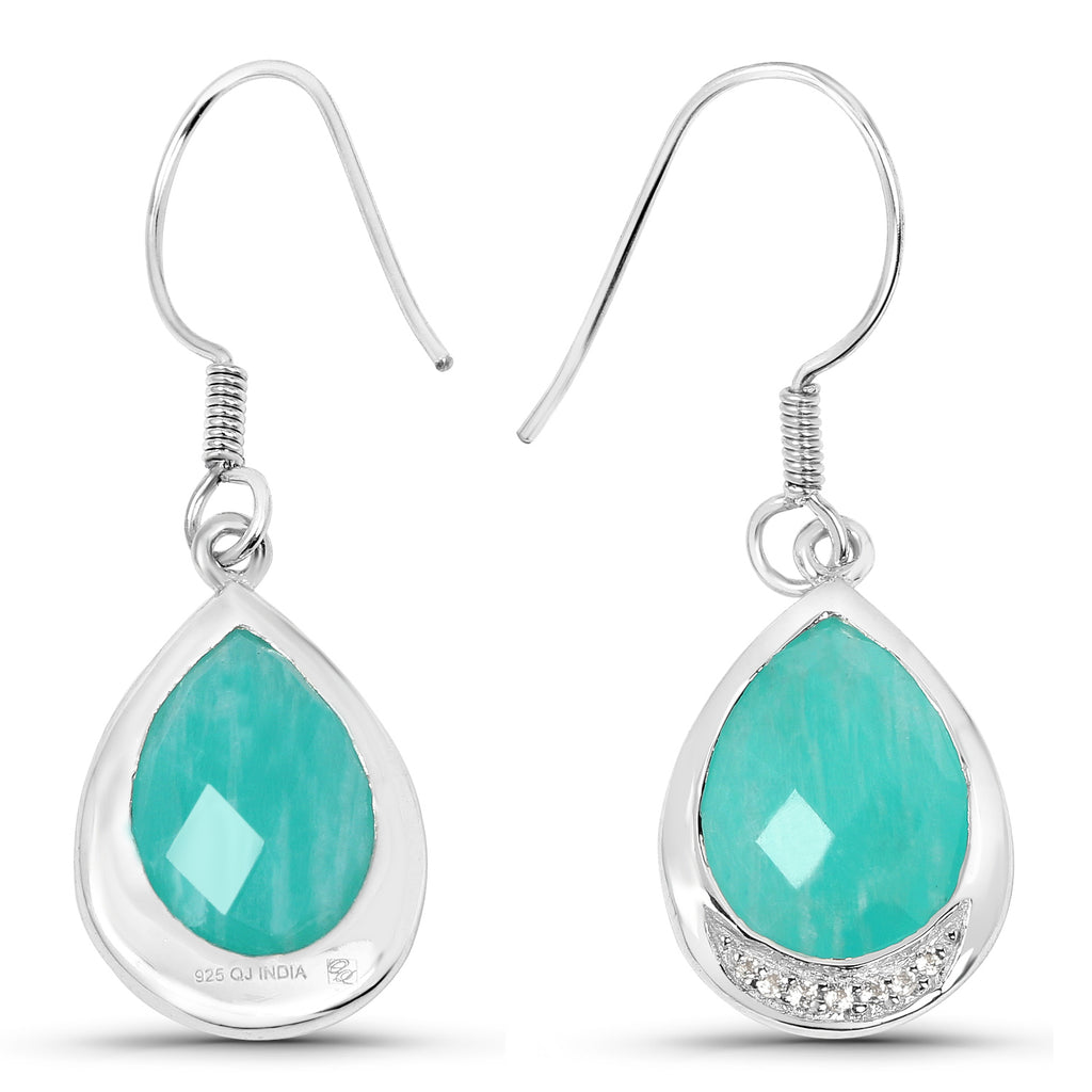 Amazonite And White Topaz Sterling Silver Earrings - Classy Swan