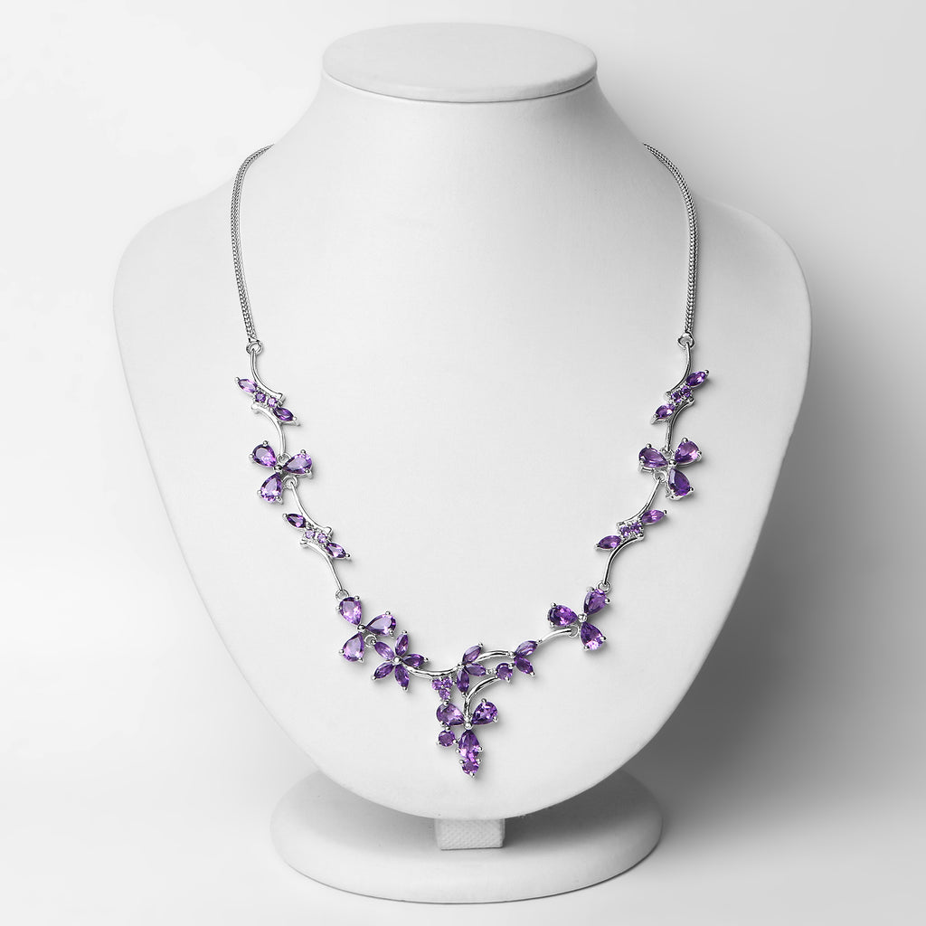 Genuine Amethyst .925 Sterling Silver Necklace - Classy Swan