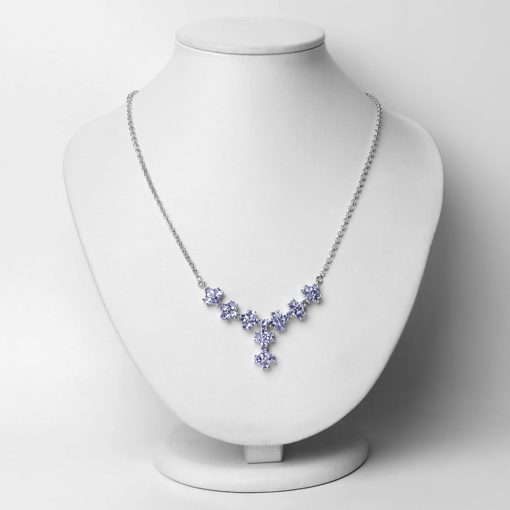Genuine Tanzanite .925 Sterling Silver Necklace - Classy Swan