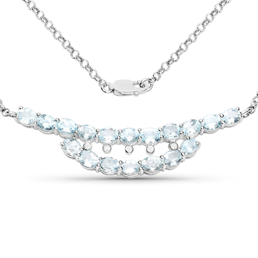 Genuine Blue Topaz and White Topaz .925 Sterling Silver Necklace - Classy Swan