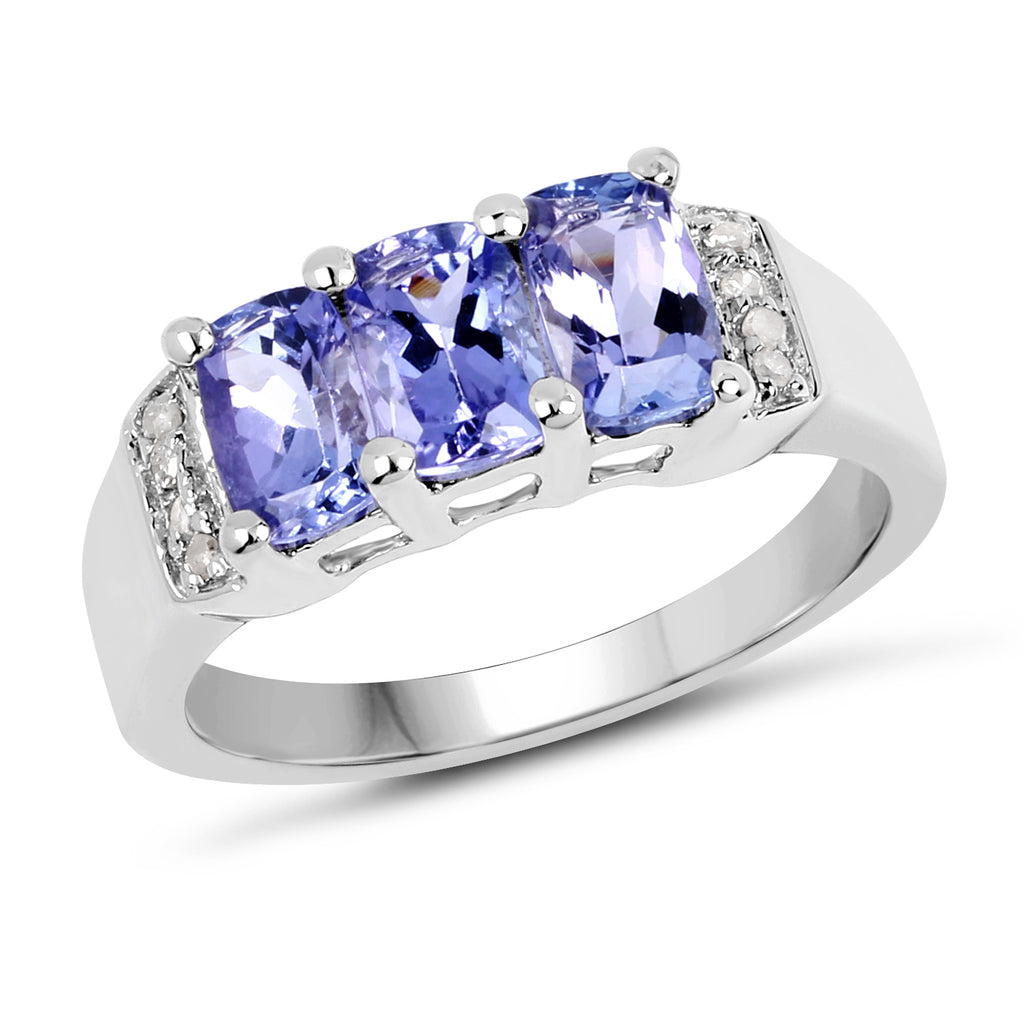 Cushion Cut Tanzanite And White Diamond Sterling Silver Ring - Classy Swan