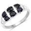 Black Sapphire And White Topaz Sterling Silver Ring - Classy Swan