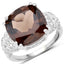 Smoky Quartz And White Diamond Sterling Silver Ring - Classy Swan