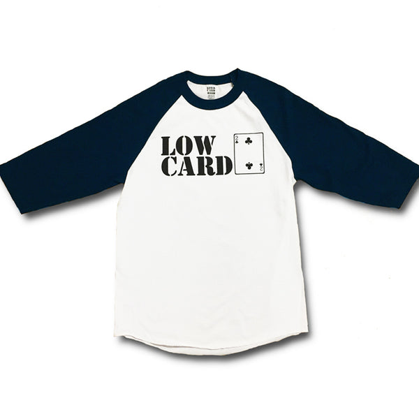 STACKED BASEBALL TEE - WHITE/NAVY