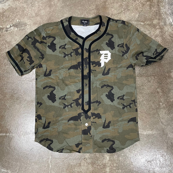 DIRTY P BASEBALL JERSEY - WOODLAND CAMO (C1)