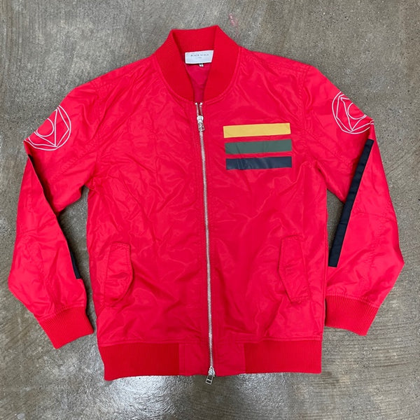 Black Scale Bomber Jacket Red (J1)