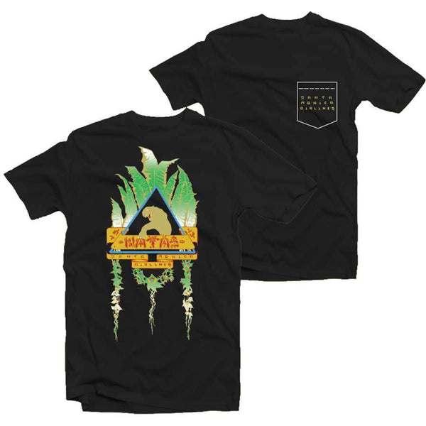 NATAS GOLD LEAVES POCKET TEE - BLACK