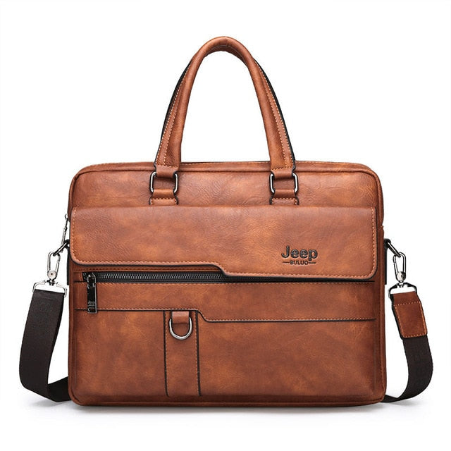 JEEP BULUO Brand Man Business Briefcase Bag Split Leather High Quality - Online Bookshop in Nigeria | Shop Kids, health, romantic & more Books!