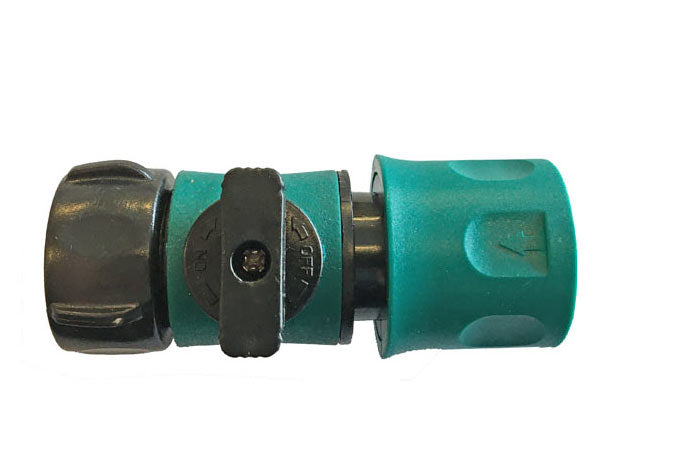 female quick connect garden fitting with on of valve
