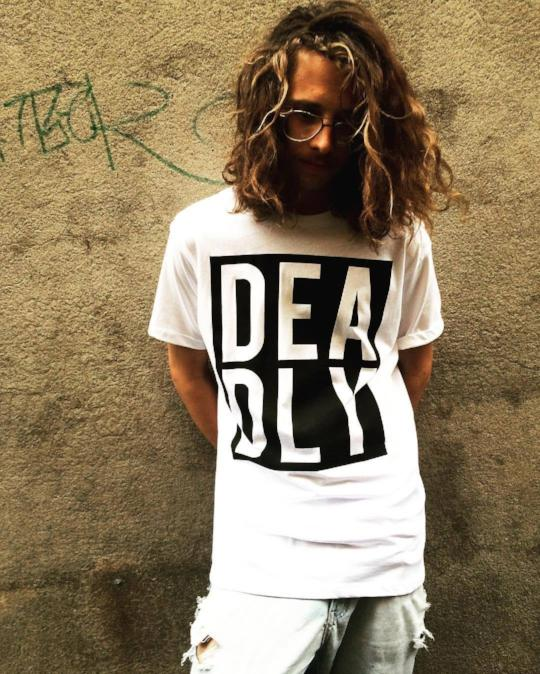 Deadly T-shirt WHITE (Black Print)
