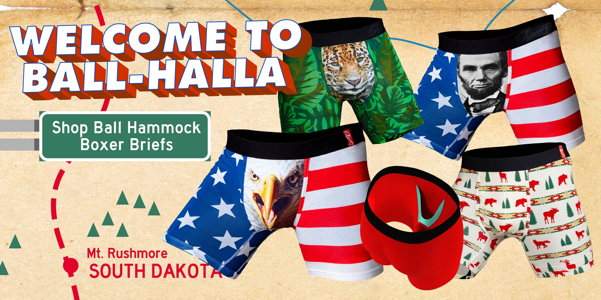 db4d093c4c Ball Hammock Boxer Briefs. American Flag Swimsuits & Patriotic Bathing Suits