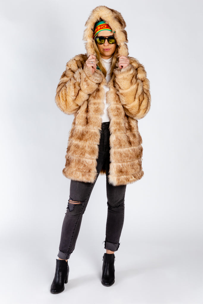 The American Gangster | Ladies Unisex Light Brown Faux Fur Coat