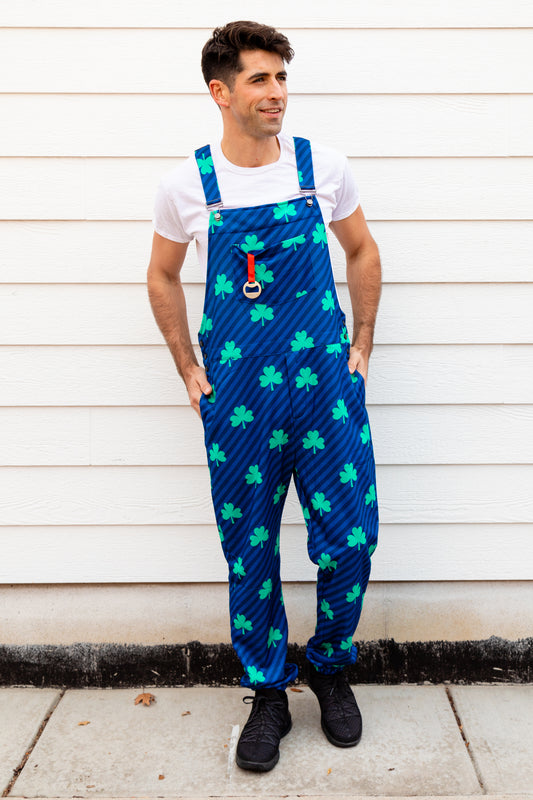 Guys Comfortable St Pats Day Clover Stripe Pajama Overalls