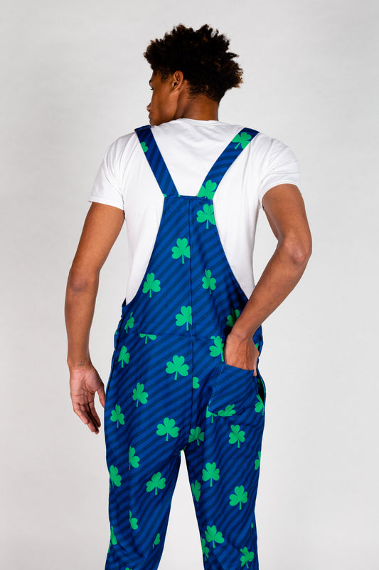 Guys Soft St Paddys Blue Pajama Overalls