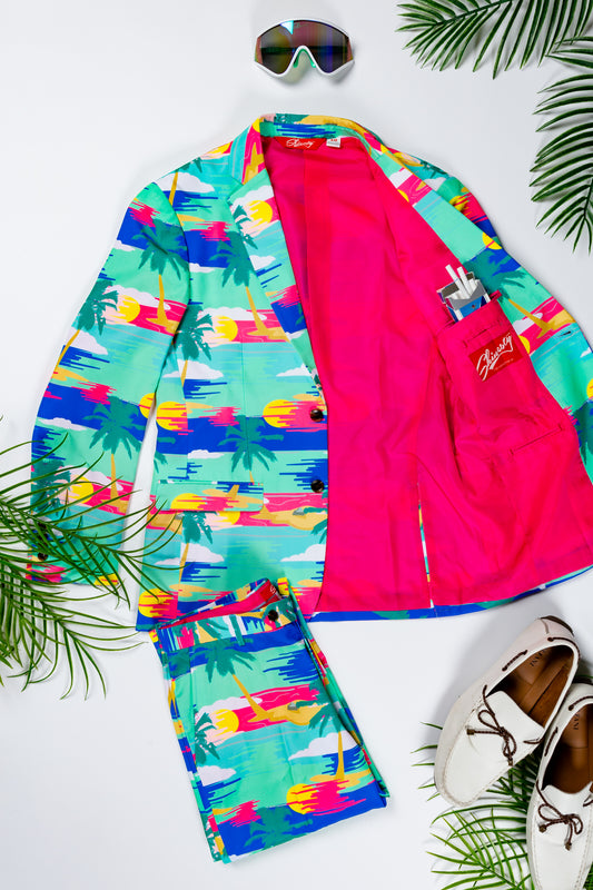 tropical themed suit and pants
