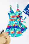 Womens Strappy Tropical Wrap Dress