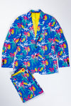 tropical blue mens suit